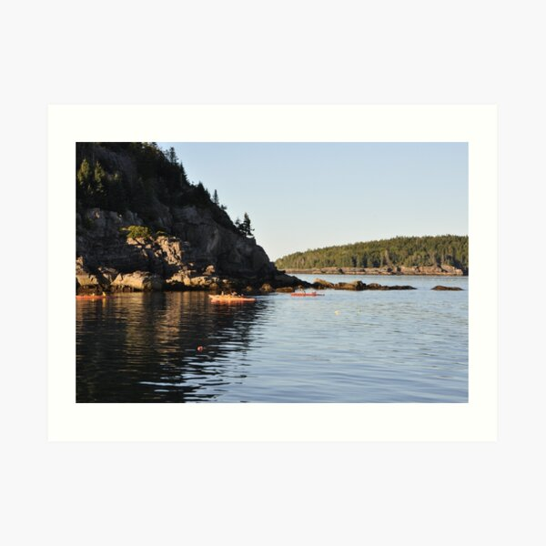 Kayakers in Maine - Serenity and Calm Waters Art Print