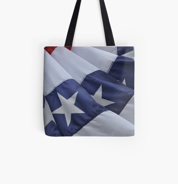USA Flag Billows in the Wind All Over Print Tote Bag