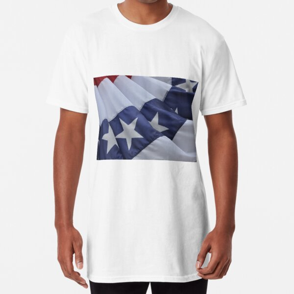 USA Flag Billows in the Wind Long T-Shirt