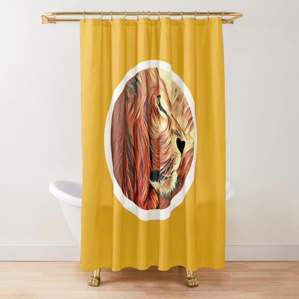 Lion-KingofBeasts Sticker Shower Curtain