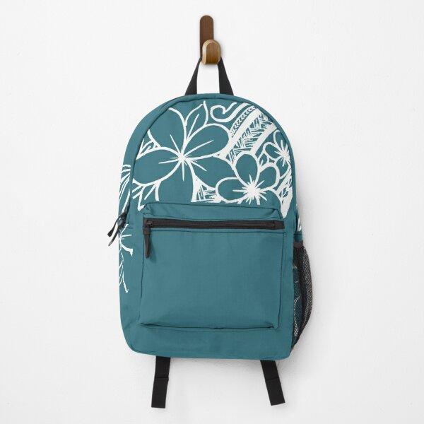 teal plumeria flower hand-drawn tribal Backpack