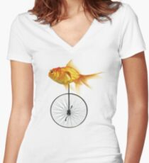 unicycle goldfish Women's Fitted V-Neck T-Shirt