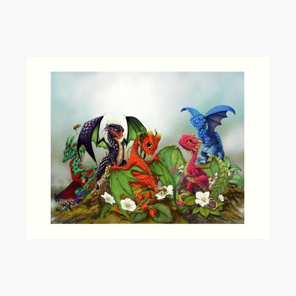 Mixed berry dragons  Art Print