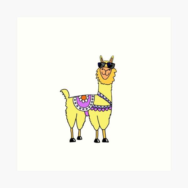 Cool Llama Art Print
