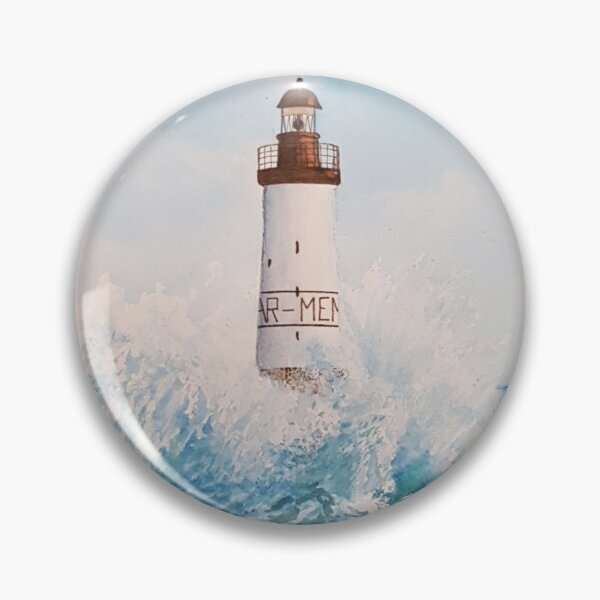 Landscape of the Ar-Men lighthouse of Brittany in France with watercolor Pin