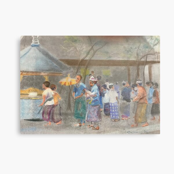 COCK FIGHT AT THE TEMPLE  Metal Print