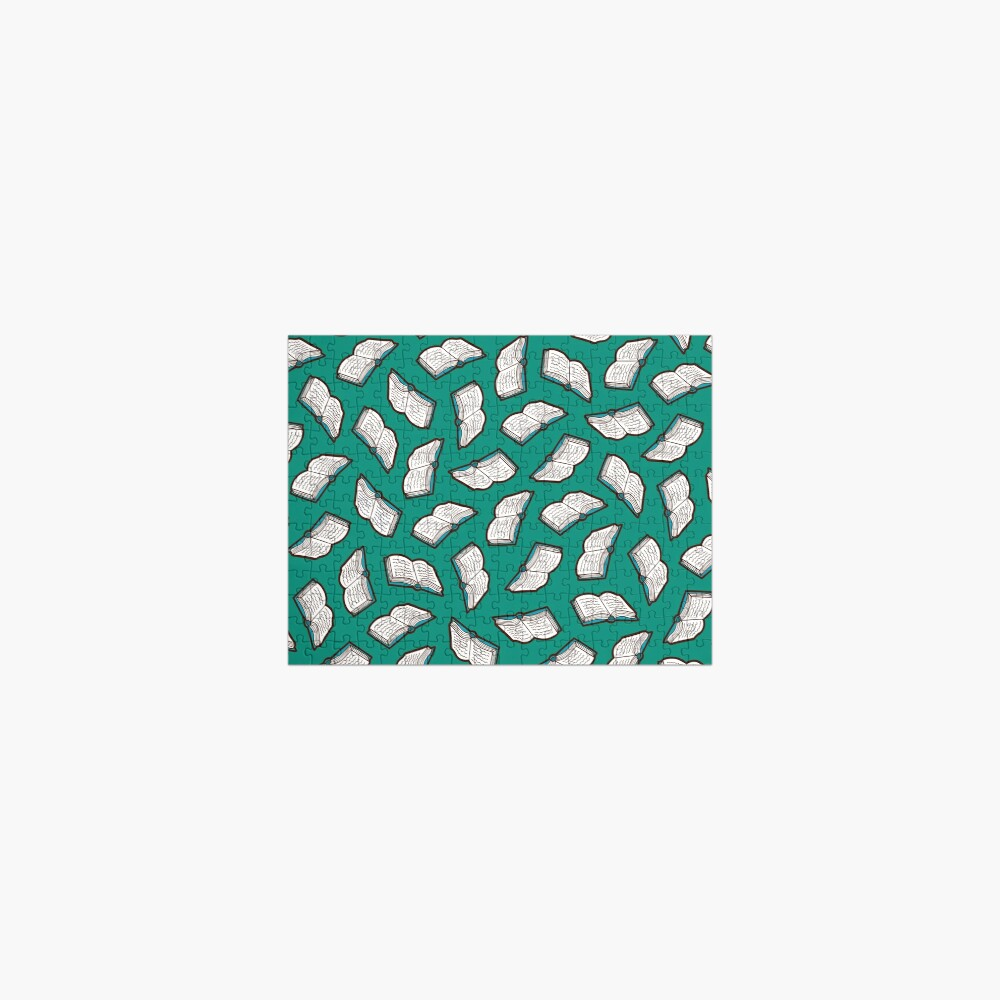 Bookish Reading Pattern in Jade Jigsaw Puzzle
