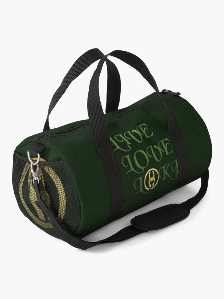 Alternate view of Live, Love, Loki Duffle Bag