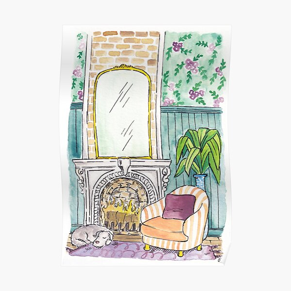 Comfy Perspective INDOORS Custom Poster Cozy Art Fireplace Graphic Design Poster Wall Art From the Outside In Window Custom Art