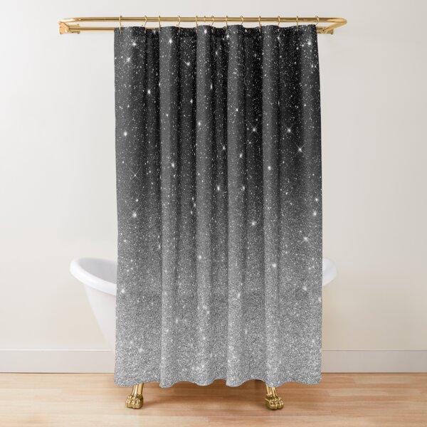 Black Silver Grey Sparkle Ombre Glitter Shower Curtain