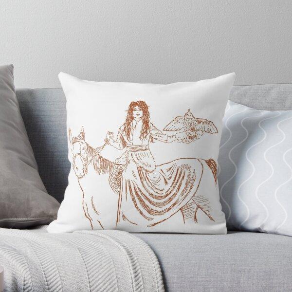 Falcon trainer horse woman Throw Pillow