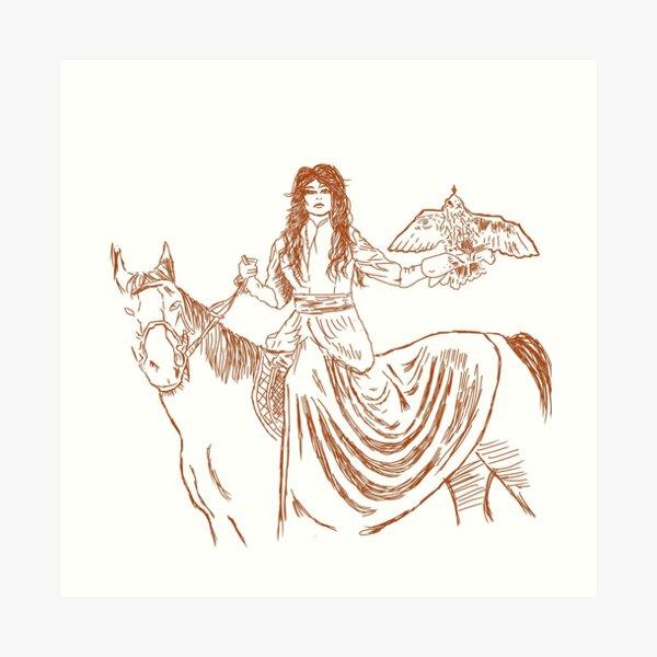 Falcon trainer horse woman Art Print