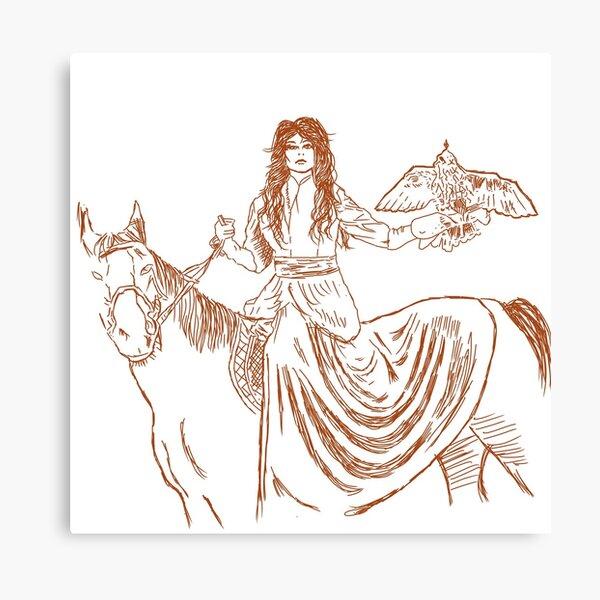 Falcon trainer horse woman Canvas Print