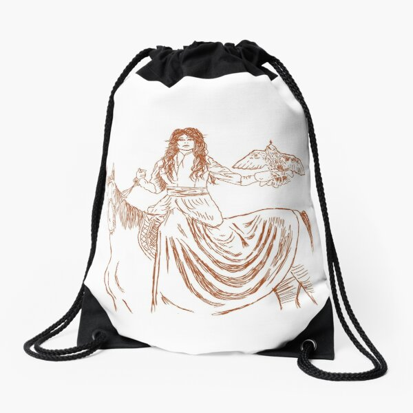 Falcon trainer horse woman Drawstring Bag
