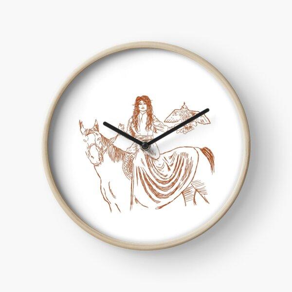 Falcon trainer horse woman Clock