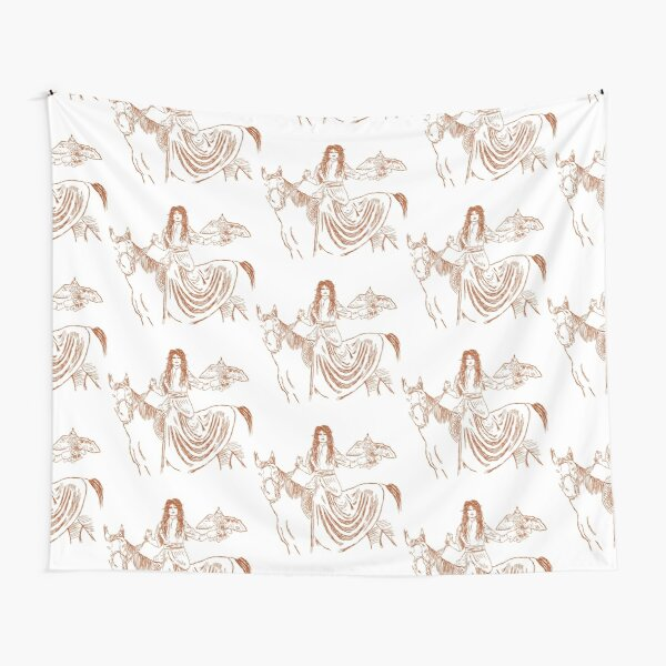 Falcon trainer horse woman Tapestry