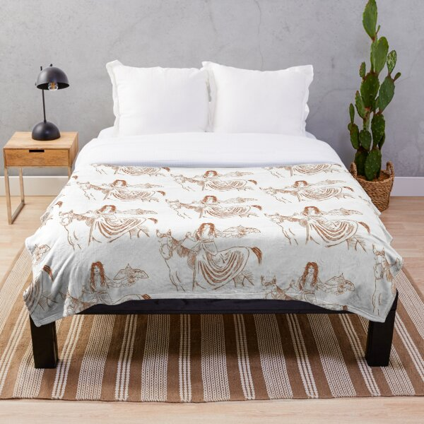 Falcon trainer horse woman Throw Blanket