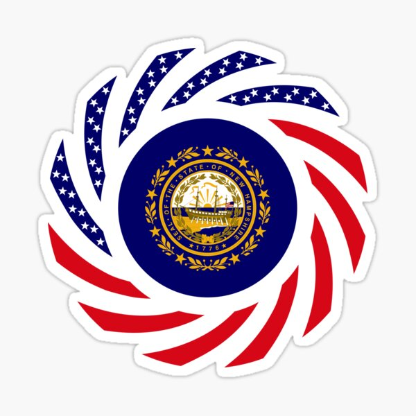 New Hampshire Murican Patriot Flag Series Sticker