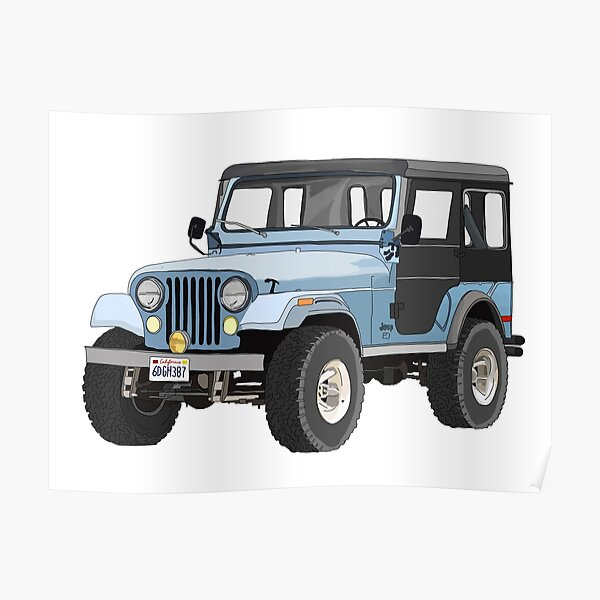 Stiles' Blue Jeep Sticker Poster