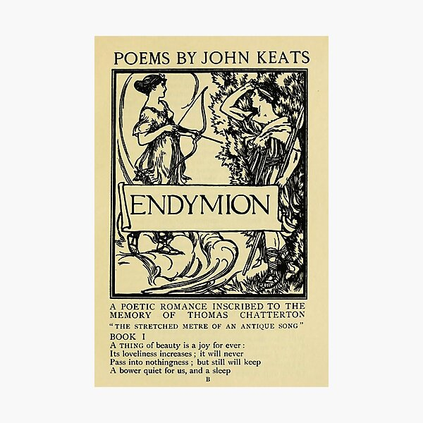 Endymion - John Keats - vintage poetry book title page Photographic Print