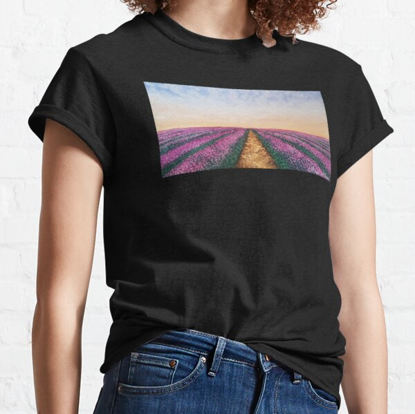 Landscape of a lavender field with watercolor Classic T-Shirt