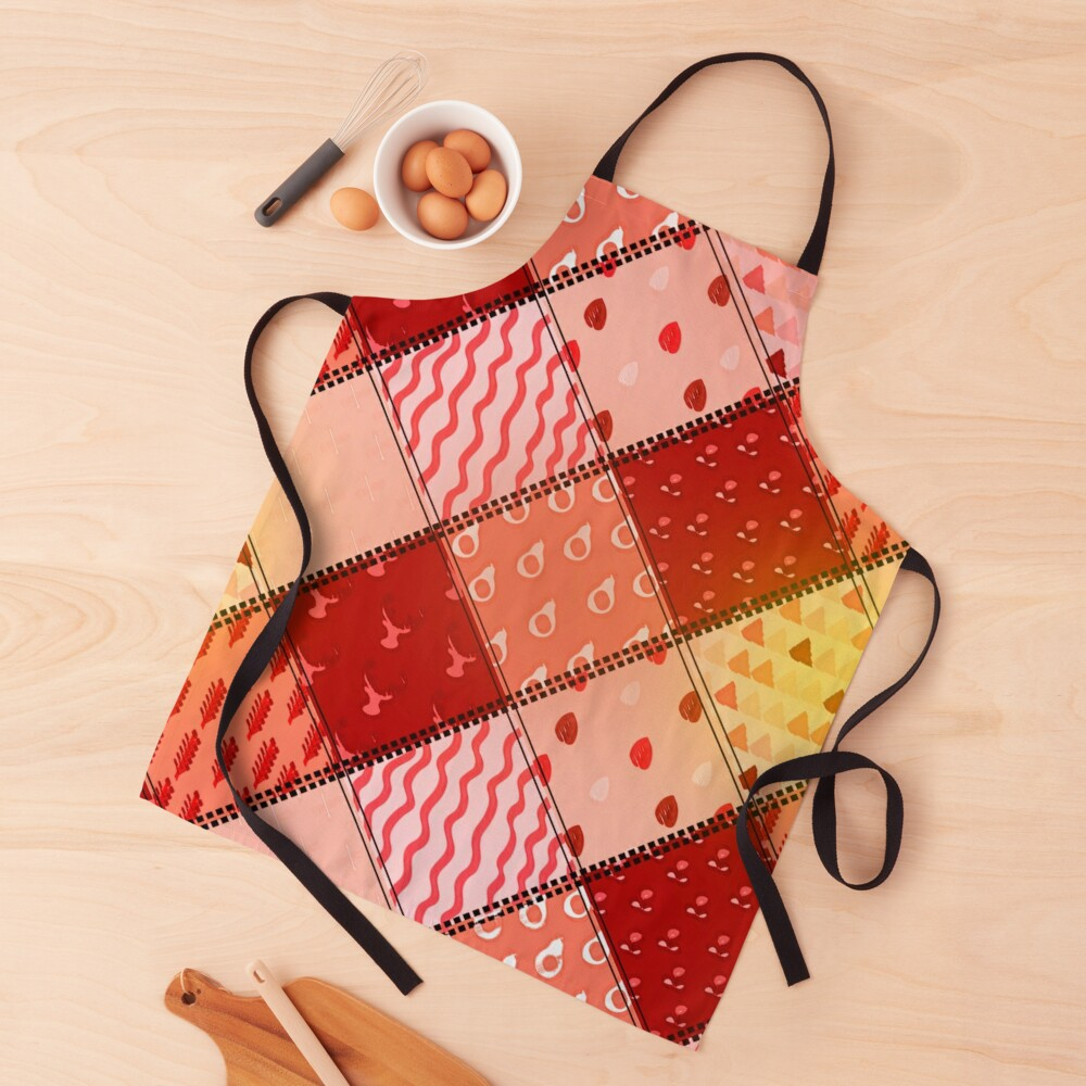 Orange and Peach Patchwork Color Blocks Apron