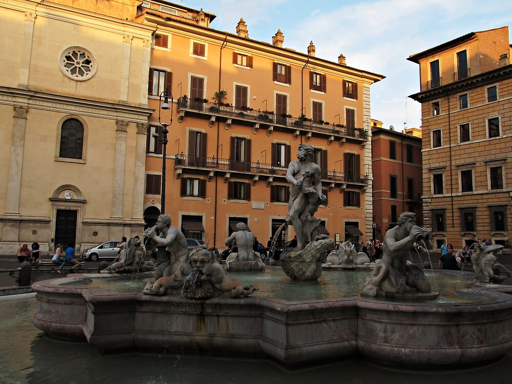 Piazza Navona with Fontana del Moro in Rome by kirilart