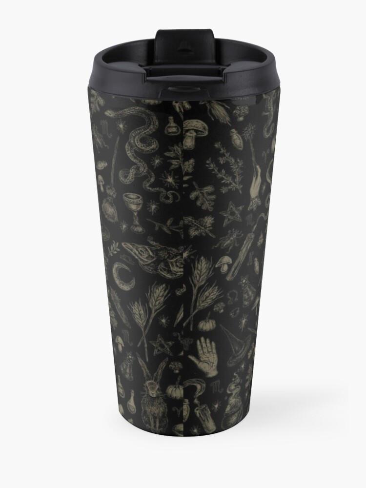 Alternate view of Just Witch Things (black and beige) Travel Mug