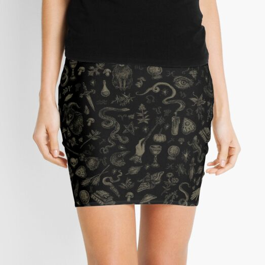 Just Witch Things (black and beige) Mini Skirt