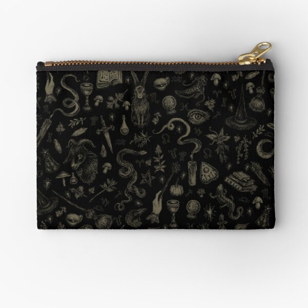 Just Witch Things (black and beige) Zipper Pouch