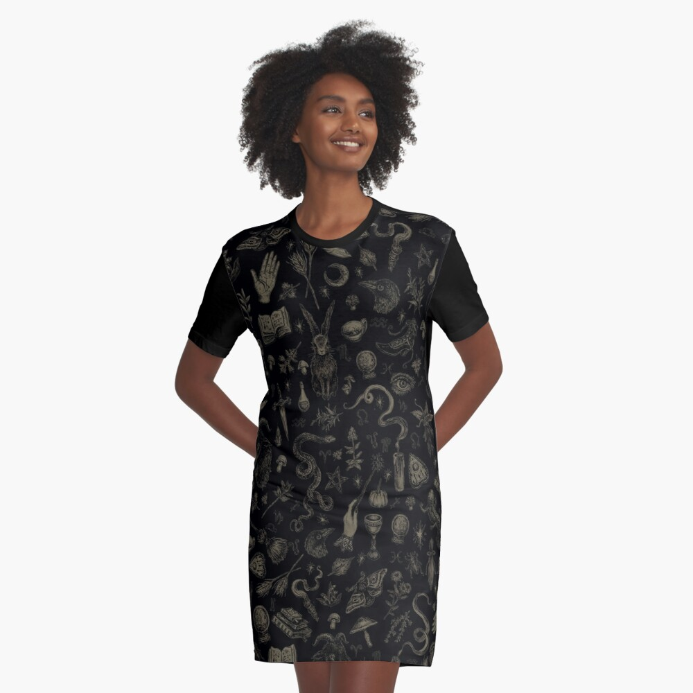 Just Witch Things (black and beige) Graphic T-Shirt Dress