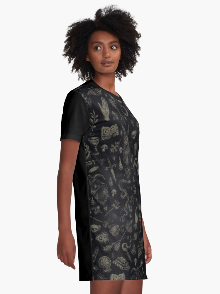Alternate view of Just Witch Things (black and beige) Graphic T-Shirt Dress