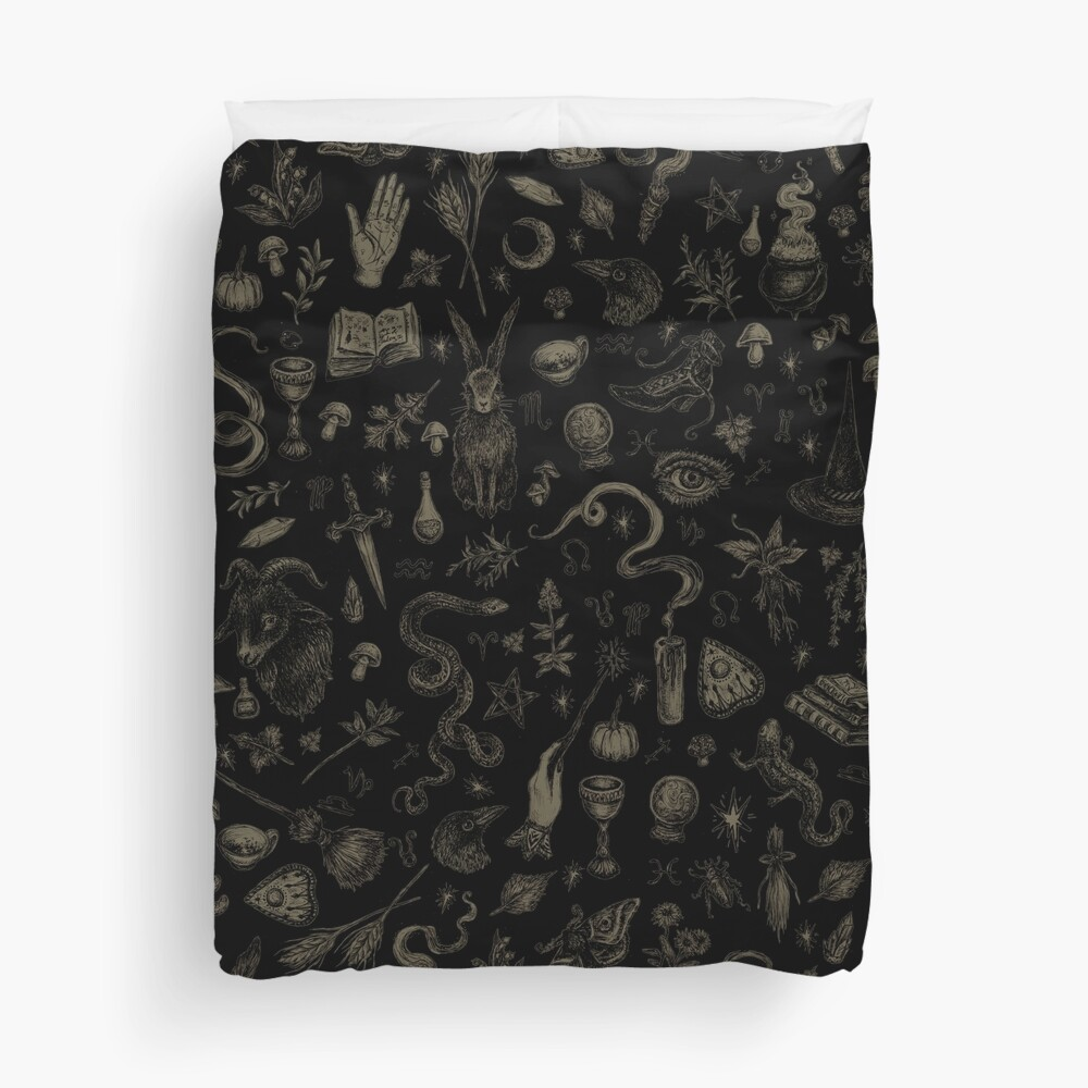 Just Witch Things (black and beige) Duvet Cover