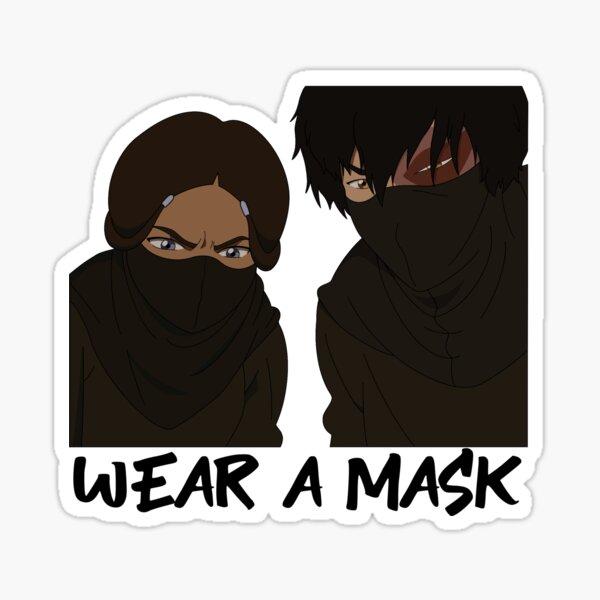 katara and zuko from avatar wear a mask Glossy Sticker
