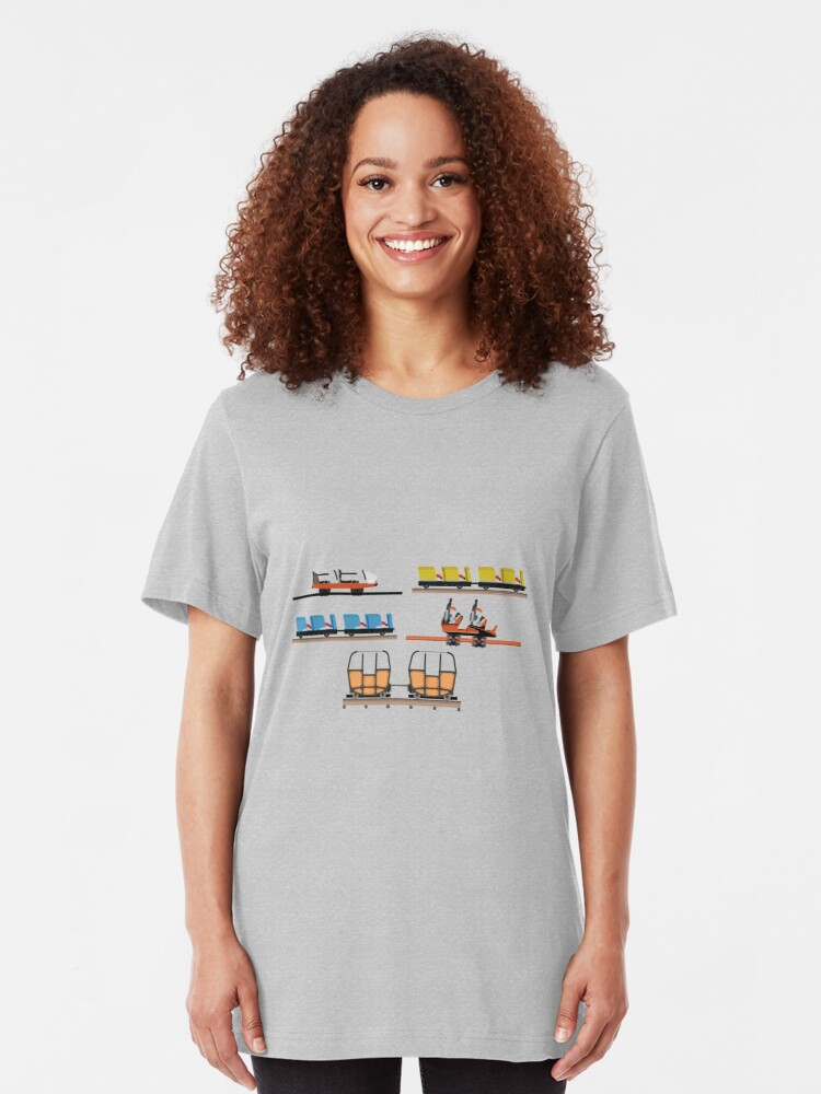 Alternate view of Indiana Beach Coaster Cars Design Slim Fit T-Shirt