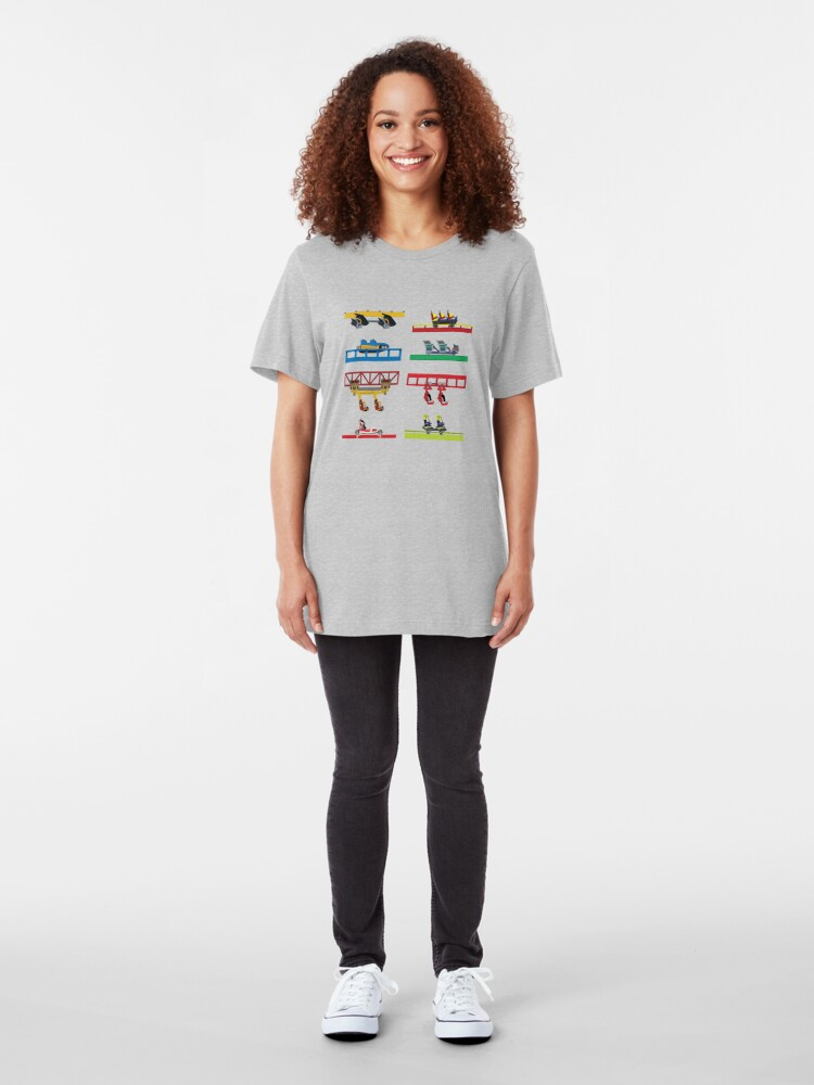 Alternate view of Six Flags Discovery Kingdom Coaster Cars Slim Fit T-Shirt
