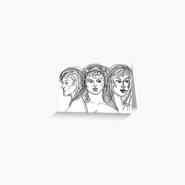 Drawing of Artemis, Aphrodite & Athena Greeting Card