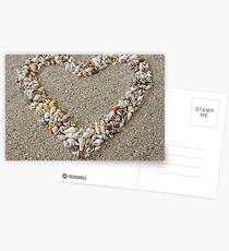 Heart arranged from Seashells Postcards