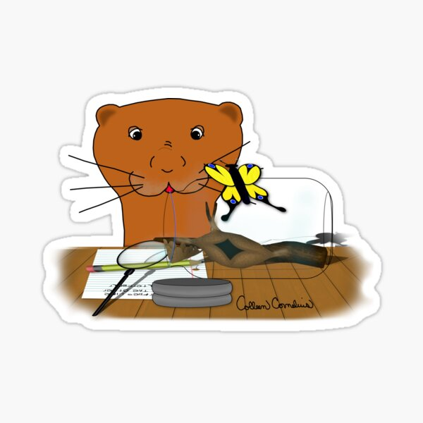 Homeschooling Oliver The Otter - The Butterfly  Glossy Sticker