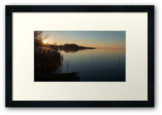 Sunset over Lago Trasemino, from Sant'arcangelo, Umbria, Italy by Andrew Jones