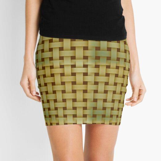 Basketweave Pattern In Earth Tone Shades Mini Skirt