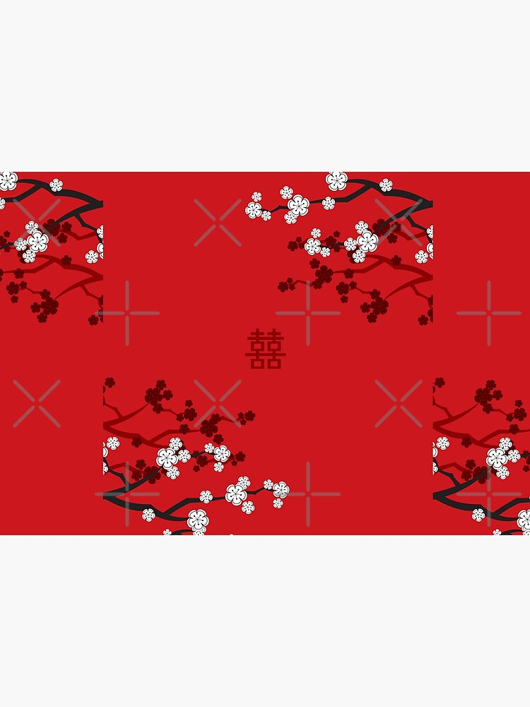 White Oriental Cherry Blossoms on Red and Chinese Wedding Double Happiness | Japanese Sakura © fatfatin  by fatfatin