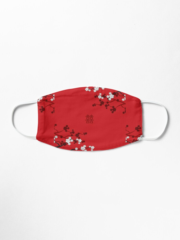 Alternate view of White Oriental Cherry Blossoms on Red and Chinese Wedding Double Happiness | Japanese Sakura © fatfatin  Mask