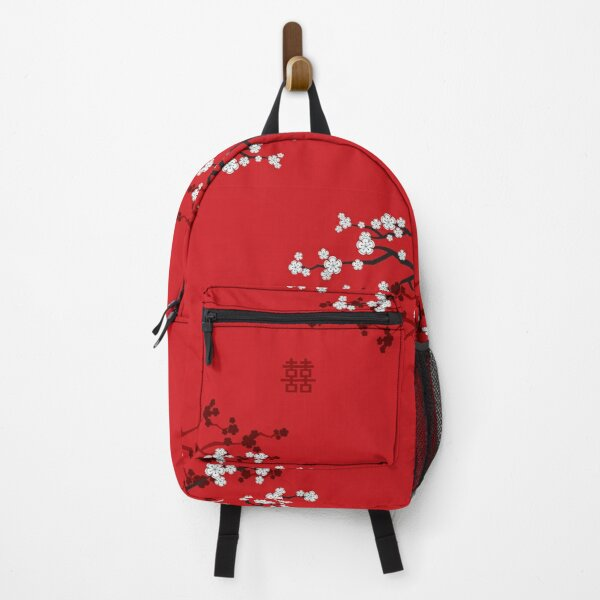 White Oriental Cherry Blossoms on Red and Chinese Wedding Double Happiness | Japanese Sakura © fatfatin  Backpack