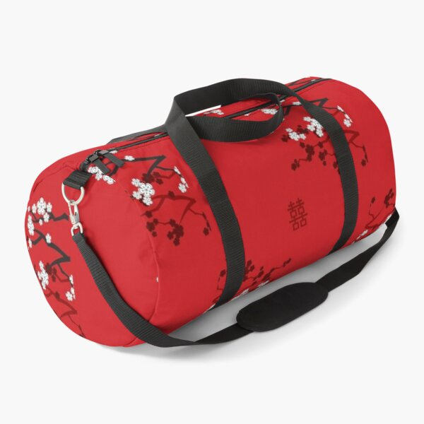 White Oriental Cherry Blossoms on Red and Chinese Wedding Double Happiness   Japanese Sakura © fatfatin  Duffle Bag