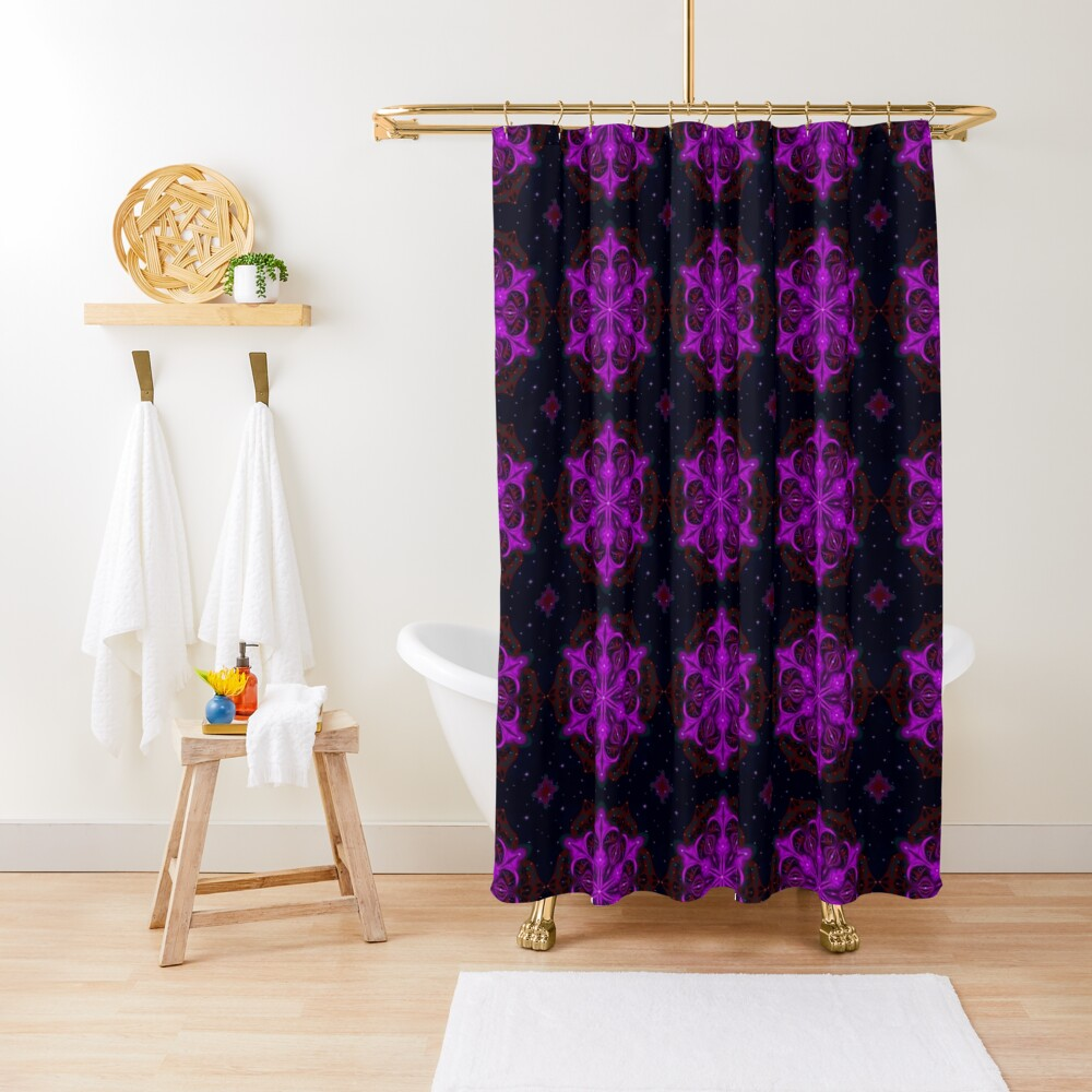 Spaceborne Orchid Snowflake Shower Curtain