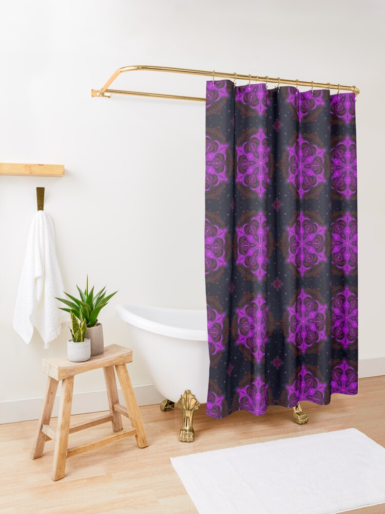 Alternate view of Spaceborne Orchid Snowflake Shower Curtain