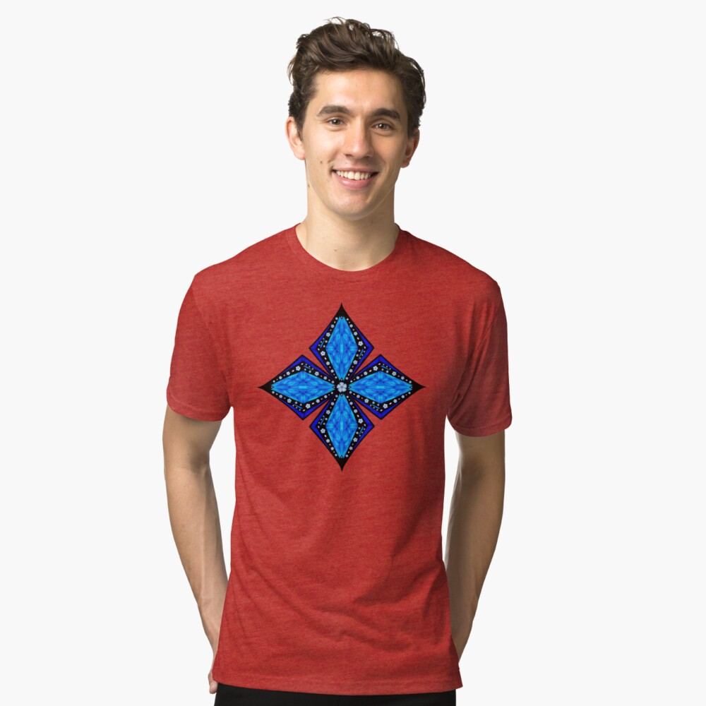 Onyx Beams of Flowers and Gems Tri-blend T-Shirt