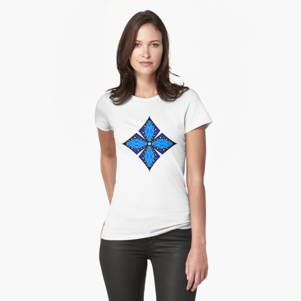Onyx Beams of Flowers and Gems Fitted T-Shirt