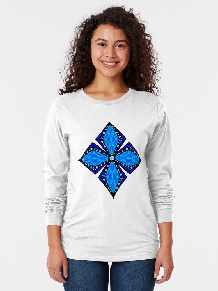 Alternate view of Onyx Beams of Flowers and Gems Long Sleeve T-Shirt